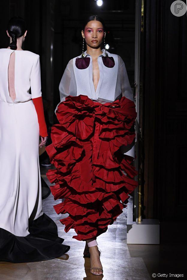Muitos babados na coleção haute couture da Maison Valentino
