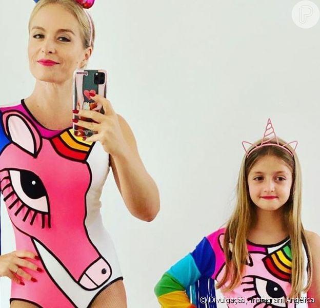 Angélica e a filha, Eva, escolheram a mesma fantasia de unicórnio para curtir o Carnaval neste domingo, 16 de fevereiro de 2020