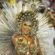 Giovana Angélica é rainha de bateria da Mocidade, que defendeu o enredo 'Elza Deusa Soares' na Avenida
