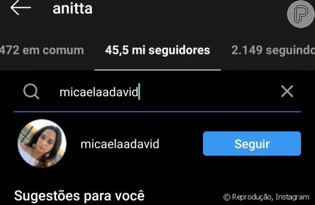 Irmã de Gabriel David segue Anitta no Instagram