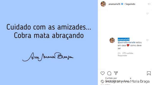 Ana Maria Braga respondeu conselho de Astrid Fontenelle