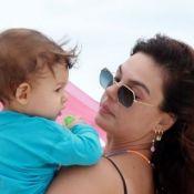 Isis Valverde se diverte por filho com rostinho sujo: 'Tive que dar banho'