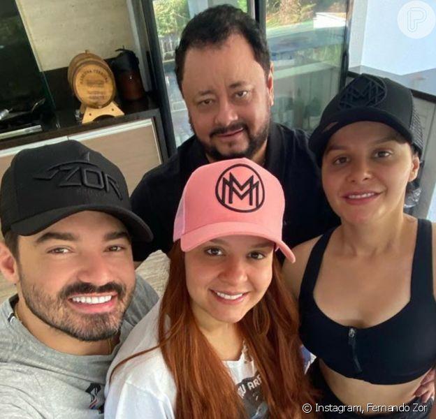 Fernando Zor curtiu feriado com família da namorada, Maiara, em fazenda nesta sexta-feira, 10 de abril de 2020