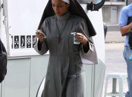 Taís Araújo, vestida de freira, grava 'O Dentista Mascarado' com Marcelo Adnet