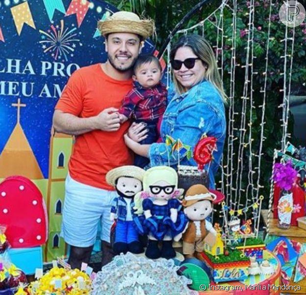 Marília Mendonça e Murilo Huff comemoraram 6 meses do filho, Léo, nesta terça-feira, 16 de junho de 2020