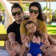 Paula Aires e Matheus Aleixo são pais de Davi, de 5 anos, e João Pedro, de 1