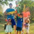 Festa de 6 anos de Pedro, filho de Patricia Abravanel, teve decoração e fotos da família reunida