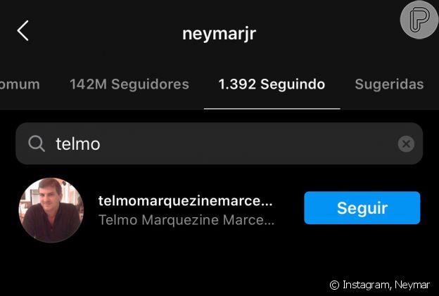 Neymar volta a seguir Telmo Maia, pai de Bruna Marquezine