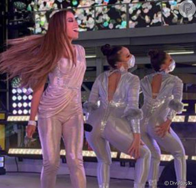 Anitta fez show de réveillon em Times Square, em Nova York, nos EUA, em 31 de dezembro de 2020