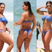 Juliana Paes combina biquíni frente única com acessórios em dia de praia com família