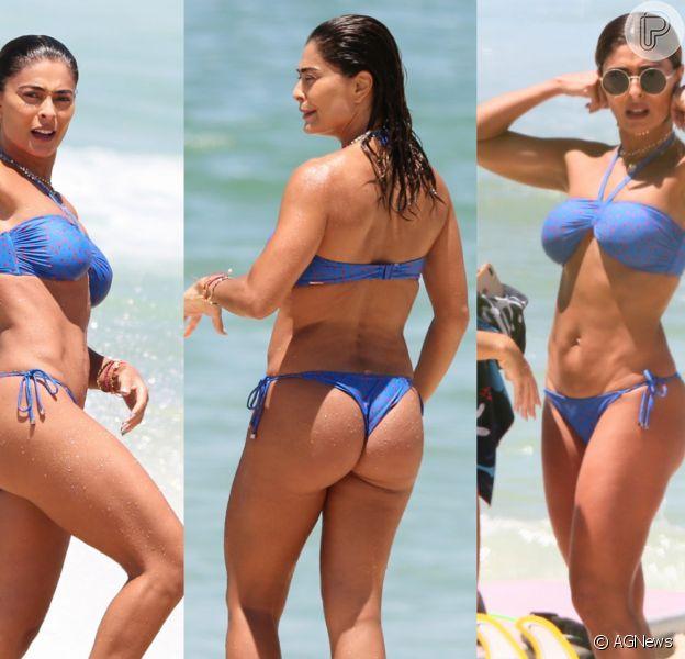 Juliana Paes, de biquíni, exibe barriga sarada em dia de praia no Rio de Janeiro