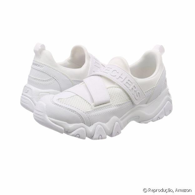 O tênis branco da Skechers está disponível na Amazon