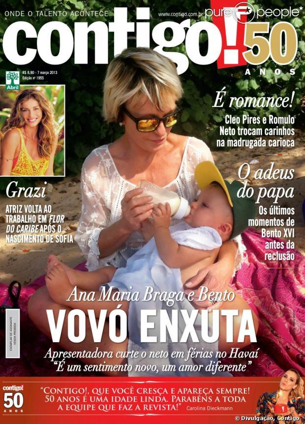 Ana Maria Braga posa para a capa da revista 'Contigo' dando mamadeira para o segundo neto, Bento, de 10 meses e afirma: 'Não vou deixar de ser eu porque sou avó, mãe ou tia', em 6 de março de 2013
