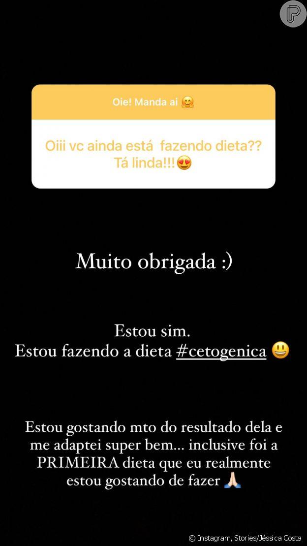 Jéssica Costa interage com fãs sobre nova dieta e perda de peso