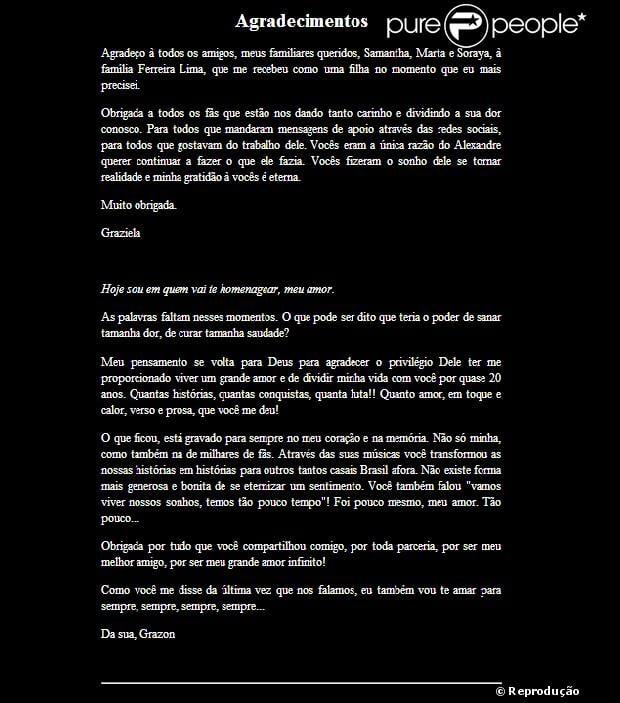 Após a morte do Chorão, Graziela Gonçalves, ex-mulher do cantor, prestou homenagem no site oficial da banda, nesta quinta-feira, 7 de março de 2013