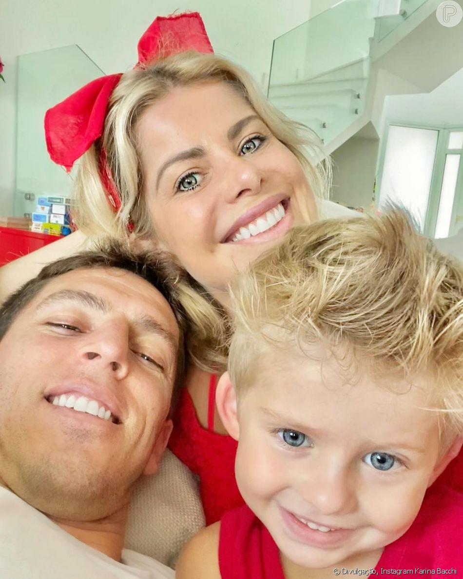 Karina Bacchi e Amaury Nunes são pais de Enrico
