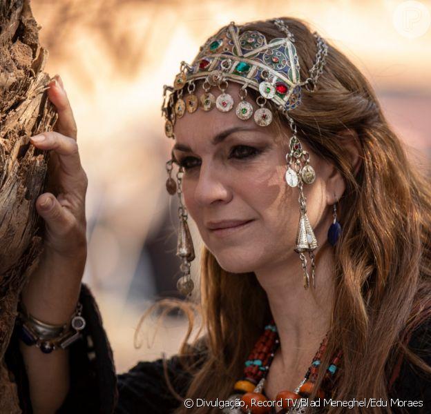 Novela 'Gênesis': Sara (Adriana Garambone) é obrigada a ficar no harém de Abimeleque (Leonardo Franco) após encantar o rei de Gerar