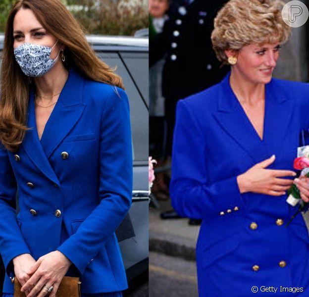Kate Middleton 'recria' look azul usado pela sogra, Princesa Diana, há 29 anos. Fotos!
