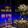 Decoração do casamento de Viviane Araújo e Guilherme Militão teve letreiro com apelido dos noivos