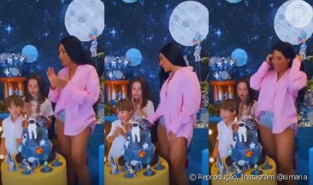 Moda de Simaria: short jeans e blusa oversized de alfaiataria são aposta da cantora em aniversário de 6 anos do filho