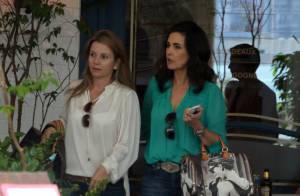 Fátima Bernardes encontra com Luigi Barricelli em shopping ao almoçar com amiga