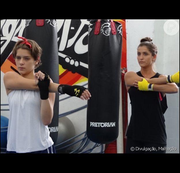 Isabella Santoni e Maria Joana, intérpretes de Karina e Nat em 'Malhação Sonhos', fazem aula de muay thai também na vida real