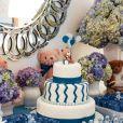 A decoração do chá de bebê do filho de Flávia Sampaio e Eike Batista era toda em tons de azul