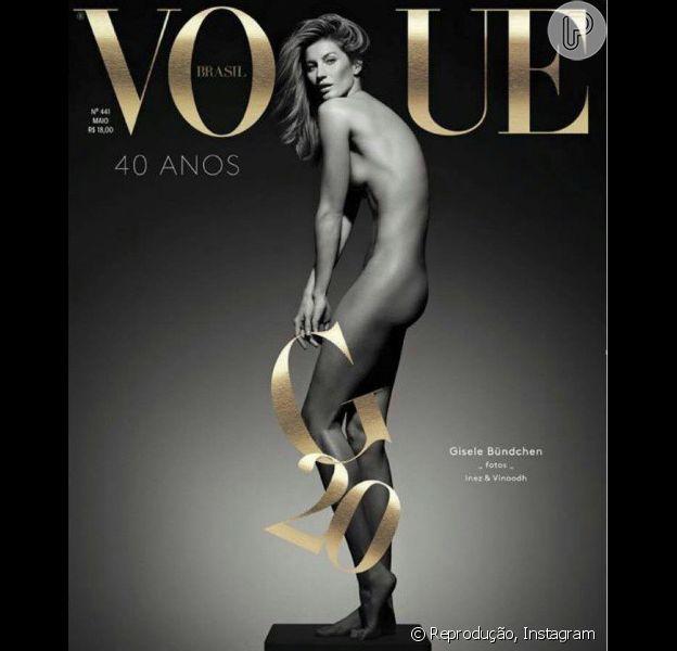 Gisele Bündchen celebra 20 anos de carreira com foto nua na capa da Vogue Brasil