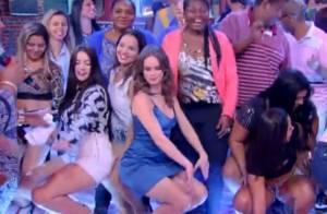 Mariana Ximenes dança funk, rebola até o chão e come paçoca no 'Esquenta'