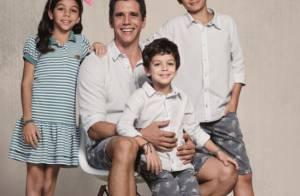 Márcio Garcia posa com os filhos para campanha de Dia dos Pais