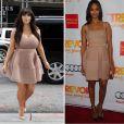 Kim Kardashian usou o vestido Lanvin durante a gestação. No corpo de Zoe Saldanha, a peça ganha outro caimento
