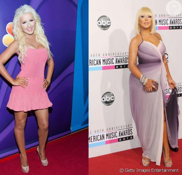 Christina Aguilera exibiu a boa forma adquirida em dieta e yoga na coletiva de imprensa do reality show musical 'The Voice', em Los Angeles, na California, no último final de semana de julho de 2013