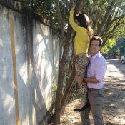 Carlos Machado brinca com Tatá Werneck em gravação de novela: 'Mulher fruta'