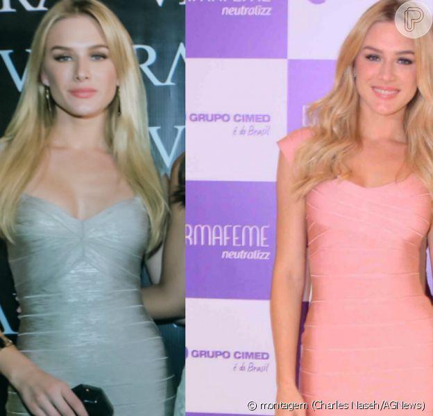 Fiorella Mattheis repetiu um mesmo modelo de vestido em dois dias seguidos. Um na cor prateada e outro na cor rosa, no último dia 28 de outubro de 2015