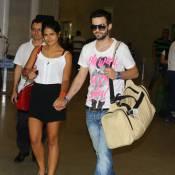 Antonia Morais desembarca no Rio de Janeiro acompanhada do namorado