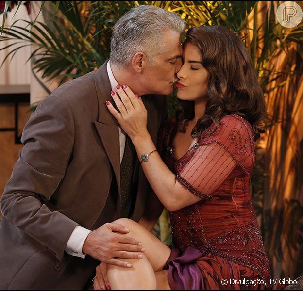 Braz (Rômulo Neto) vê Diana (Priscila Fantin) beijando Severo (Tarcísio Filho), na novela 'Êta Mundo Bom!', em 29 de fevereiro de 2016