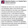Valentina Seabra divulga a agressão que sofreu de Marcos Pitombo em sua página do Facebook