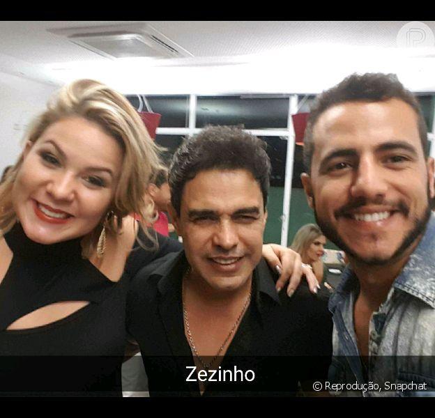 Ex-BBBs Cacau e Matheus tietam Zezé Di Camargo em show neste domingo, 15 de maio de 2016