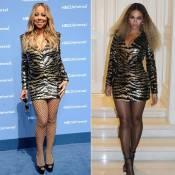 Mariah Carey repete vestido da grife Balmain já usado por Beyoncé. Compare foto!