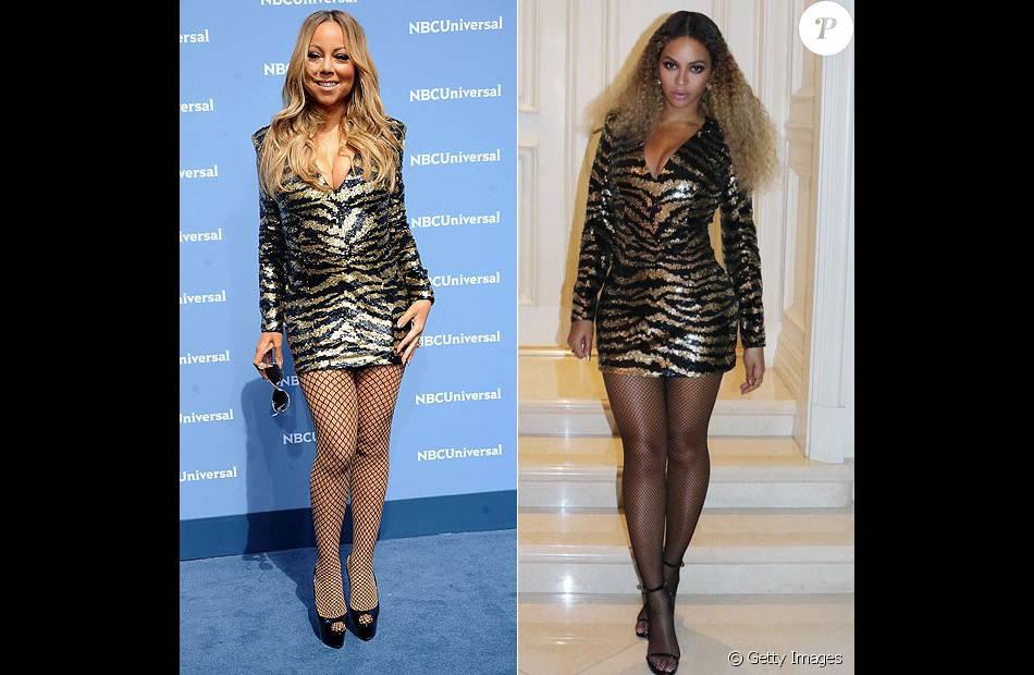 Mariah Carey repetiu o modelo de vestido já usado por Beyoncé