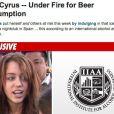 Novembro de 2010 - Miley é pega bebendo cerveja aos 17 anos de idade na Espanha