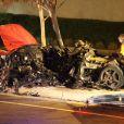 Estado em que ficou o carro em que estava Paul Walker após o acidente que o matou, no dia 30 de novembro de 2013