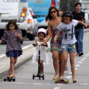 Sem Ronaldo, Paula Morais se diverte com as filhas do noivo no Leblon, no Rio