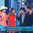 O 'Domingo da Gente' de 22 de dezembro de 2013 foi comandado por Chitãozinho e Xororó, que receberam Sandy e Júnior no palco
