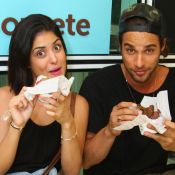 Pablo Morais e a namorada, Letícia Almeida, provam doces em evento no RJ. Fotos!