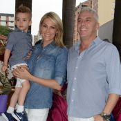 Ana Hickmann leva o filho, Alexandre Jr., à festa da filha de Rodrigo Faro
