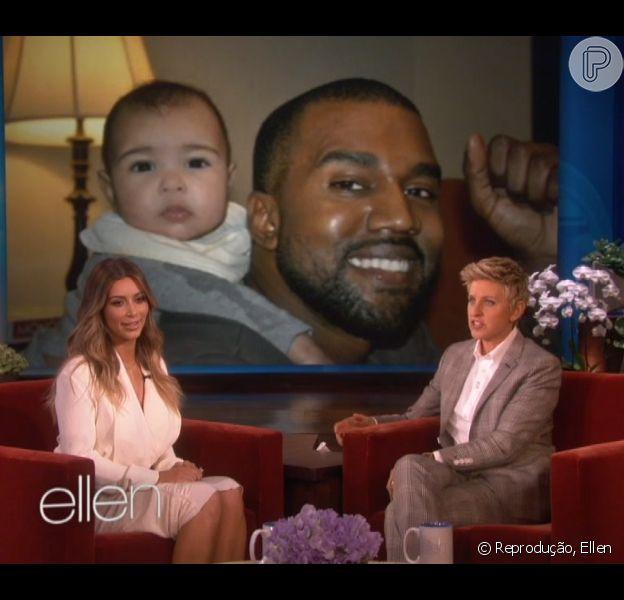 Kim Kardashian participa do programa de Ellen Degeneres e mostra novas fotos da filha, North West, em 16 de janeiro de 2013