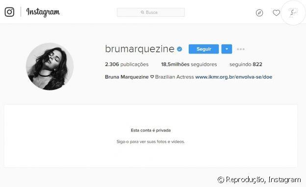 Bruna Marquezine decidiu tornar sua conta no Instagram privada