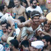 Vestido de mulher, Caio Castro é algemado por 'policial' em bloco de Carnaval