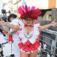 Fantasiada de índia, Fafá de Belém se divertiu no bloco Acadêmicos do Baixo Augusta no domingo, 19 de fevereiro de 2017